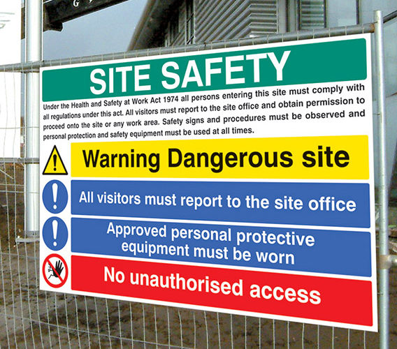 Site Safety Sign on Fence